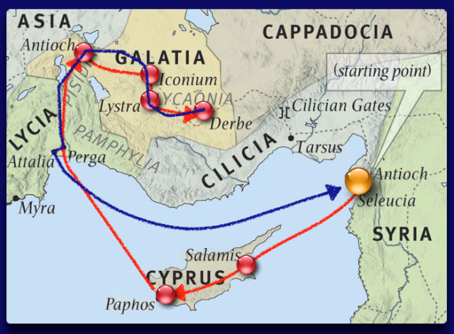 Map of Paul's First Journey