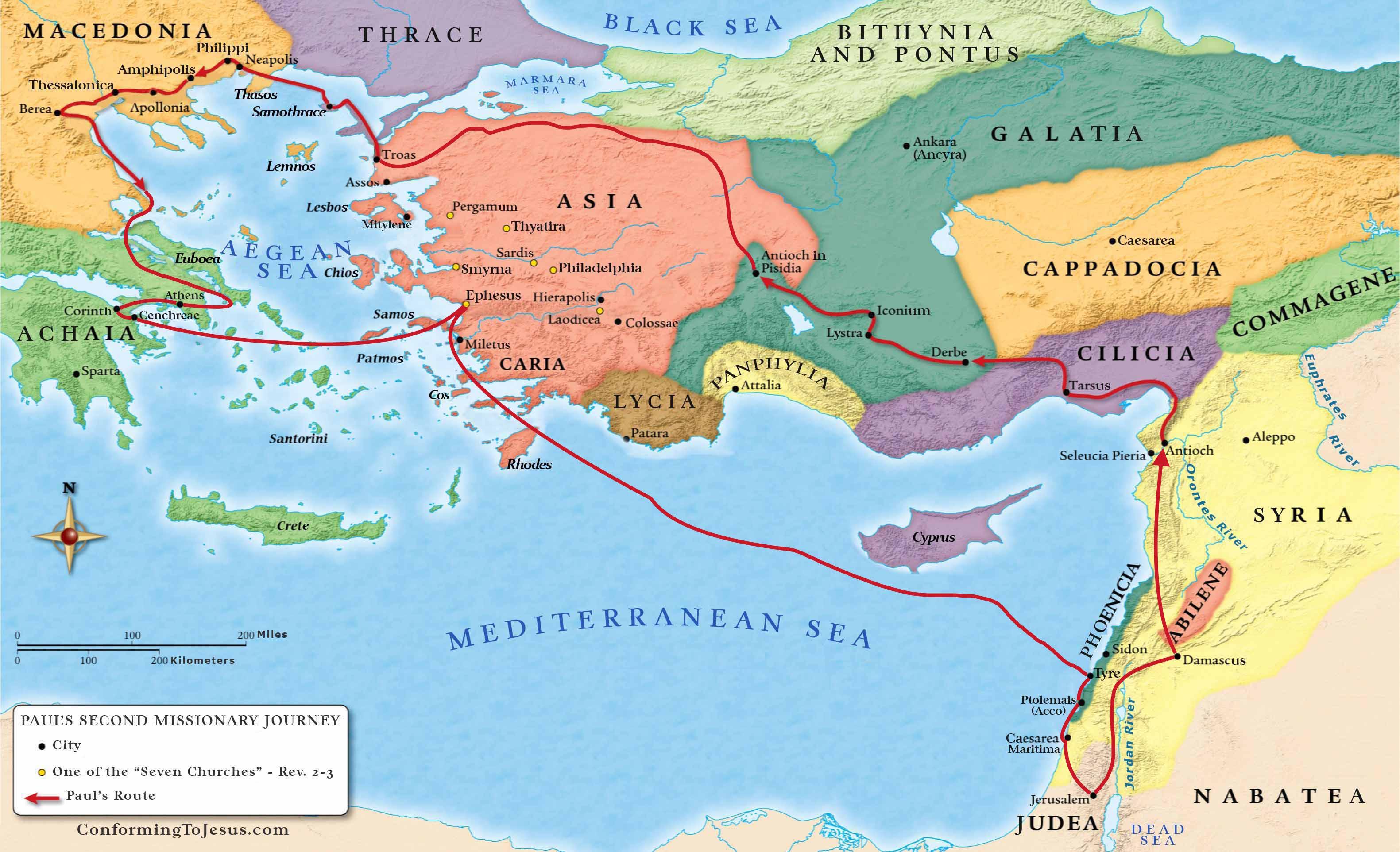 Paul's 2nd journey full map